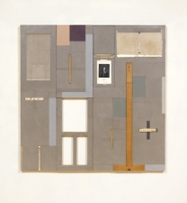 John Fraser work in relief Mixed-Media Collage on Wood Panel Construction, with Found Object