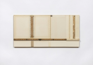 John Fraser work in relief Mixed-Media Collage on Wood Panel Construction, with Found Rule
