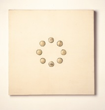 John Fraser paintings Graphite, Acrylic, and Varnish on Linen, Mounted to Wood Panel, with Inlaid (found) Wood Half-spheres