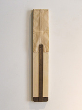 John Fraser sculpture/assemblage Acrylic and Wax on Wood Construction & Found Object, Folded & Sewn Wax, Paper Envelope, Steel Nail