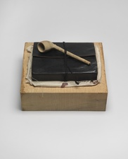 John Fraser sculpture/assemblage Waxed Maple Plinth, Leather East Indian Ledger w/ Unbound Papers, Cording, Ink & Sealing Wax on Cotton, Acrylic on Found Clay Pipe