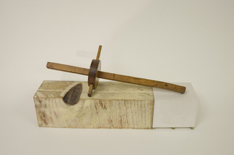 John Fraser sculpture/assemblage Wax on Milled Wood, Acrylic on Cast Plaster & Wood, Wax on Found Hand-Made Pear-wood Scribe