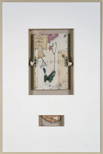 John Fraser archive Powdered Graphite, Colored Pencil, M/M Collage, on Board, Thread, Ink Stamp, Plastic-Coated Wire, Enamel on Wood, Silk Embroidery Tassels, Black Screws, Mounted to Wood Support Structure, w/ Leather Shard, Thread, & Bear's Tooth wired below