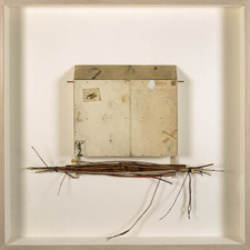 "John Fraser sculpture/assemblage Graphite, Acrylic, Colored Pencil, Inlaid M/M Collage, Silk Textile, Thread, Silk Embroidery Floss, Enamel & Carbon-stain on Wood, Ivory Dice, Hemp Cording, Black Screws, Found Wood Rule, on Wood Support Structure, Wood Sphere, w/ Found Object ""bundle"""