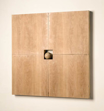 John Fraser sculpture/assemblage Acrylic & Varnish on Wood Panel Construction w/ Inserted Found Wood Sphere