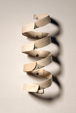 John Fraser sculpture/assemblage Varnish on Starched Linen Collars, Dyed Leather, Stainless Steel Hardware (wall-bound)