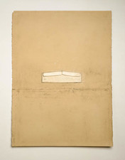John Fraser misc. collage Graphite, Soft Pastel, Varnish on Folded Paper, Mounted to Paper, w/ Inlaid Linen Cuff