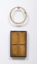 John Fraser sculpture/assemblage Waxed & Welded Steel, Waxed Wood, Acrylic on Fabric & Found Wood Embroidery Hoop, Stainless Hook (3 Parts)