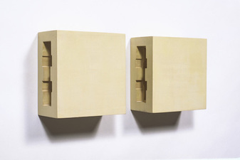 John Fraser sculpture/assemblage Acrylic and Wax on Carved Wood Constructions (2 Parts)