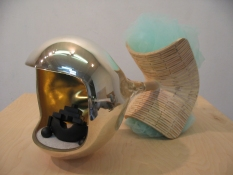 John Newman  Sculpture - 2005-2008 mold-blown mirrored glass, tulle, wood, wood putty, paper, plastic, acqua resin, stove-blacking