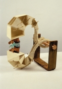 John Newman  Sculpture - 1990-2001 cast glass, terra cotta, plastic, felt, wood, jute, wire, rusted steel, polished copper