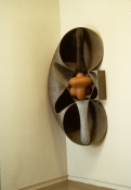 John Newman  Sculpture - 1980-1989 cast aluminum with lacquer and terra cotta