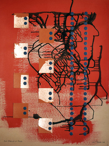 John T Adams Expo67-My First Exposure to Brutalist Architecture Acrylic paint, copper leaf and ink on Ram Board