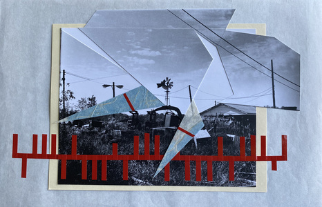 John T Adams Quarantine Projects - 2 Photographs, found objects and vinyl tape.