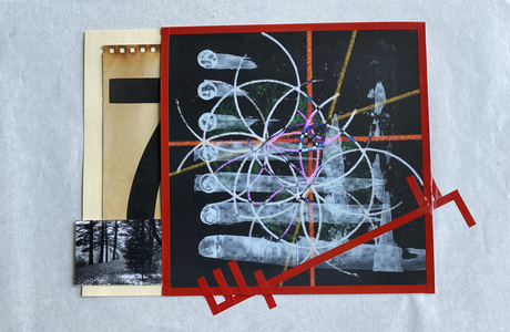 John T Adams Quarantine Projects - 2 Photograph, found objects, an ink jet print and vinyl tape.