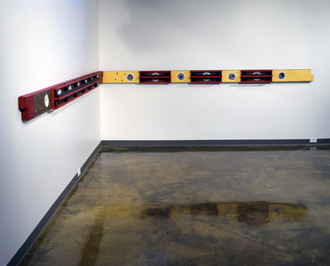 "John T Adams MFA show-""My Father Before Me"" antiquated floor joists, ceramic tiles, parting strips and acrylic paint"