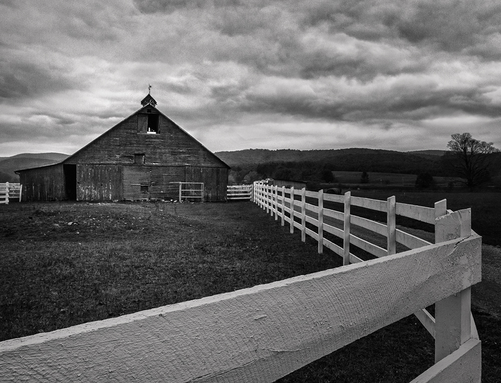 Landscapes Gallery Red Barn and White Fence Series:  Fence Curved Around  ©