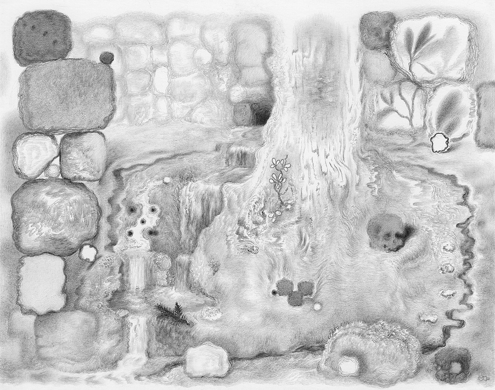 Paper Garden, 2017 Perimeter, 2017, graphite on paper, 5.5 x 7 inches