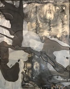 JOY J. ROTBLATT 2018 Exhibitions M/M Encaustic painting with Antique Japanese Text and Pour