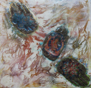 JOY J. ROTBLATT Additional Encaustics Collage with Encaustic  on Wood Panel