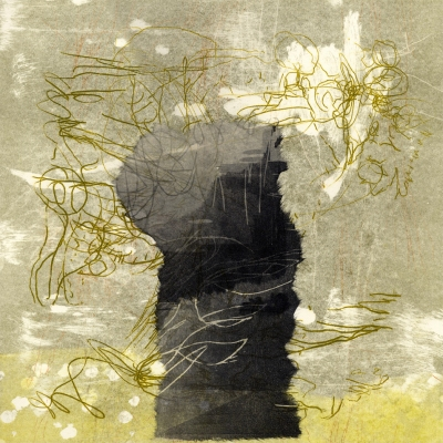 "Joyce Silverstone Now and Then Series, 15"" x 15"" Monotype, Woodcut, and Collage"