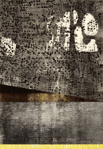 Joyce Silverstone Verticals relief, carborundum collagraph, and collage