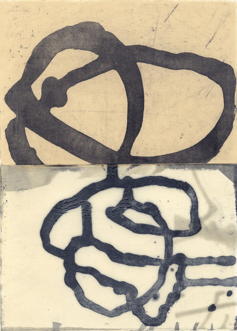 Judith Bowerman Knots and Connections monoprinted lithograph with Chine-collé on Magnani Pescia