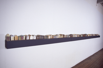 Judith Pointer Jia Houses various glazed ceramic, lead sheet, wood shelf