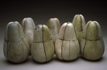 Judith Pointer Jia Pears & Eggs glazed stoneware, ^10 oxidation