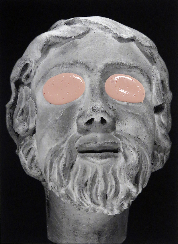 JUDITH PAGE  I Have Seen Too Much, Wipe My Eyes Away (Temple Heads) Tar Gel, acrylic, archival pigment print on rag paper.