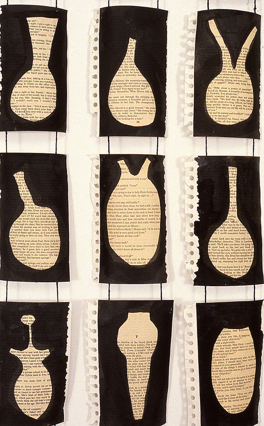 JUDITH PAGE Reading and Writing (1994-1998) Ink on pulp fiction, paper, mixed media, string, lead weights.