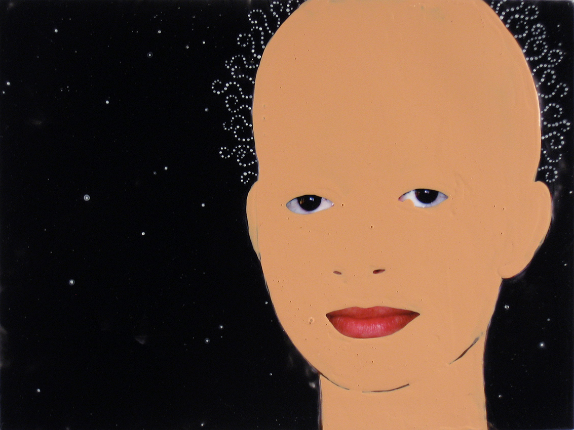 JUDITH PAGE Black Hole Portraits (2000-2007) Tar Gel, acrylic, photograph on canvas.