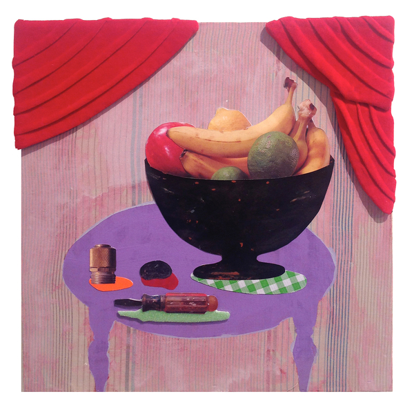 Julia Freeman Good Manners  Red velvet, fabric personal photographs on wood panel