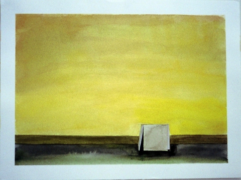 Sculpture Paintings + Drawings (2004) Serra Landscape (One Ton Prop, Color Study, Yellow)