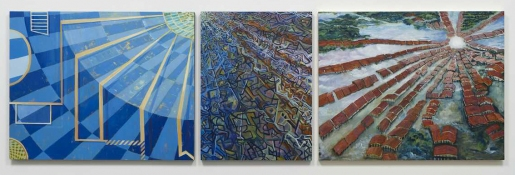 KANISHKA RAJA Against Integration 2010 oil on 3 panels