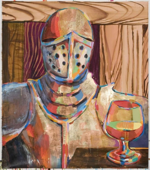Karen Heagle  Battle Armor/Pasolini acrylic, ink, collage, gold and copper leaf on paper