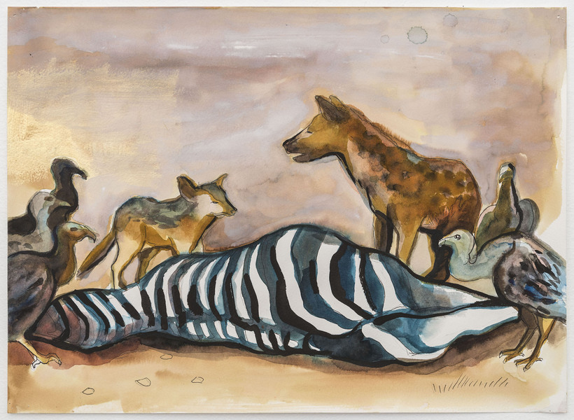 2017-2016 Untitled Scene (zebra carcass with hyena and jackal)