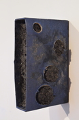 Karen Roarke Mixed media book sleeve, ashes, acrylic