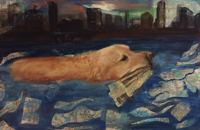 Karen Schlansky  Animal paintings mixed media, oil, pastel,news print