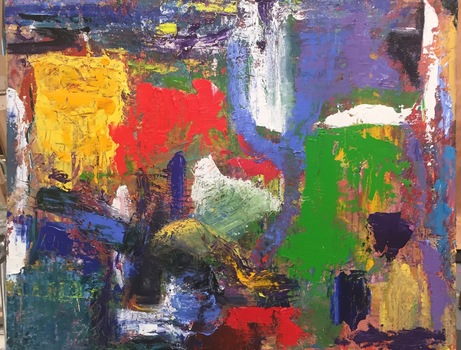 The Purple Hen Paintings| Karen Schlansky Abstract and Still Life Oil on board