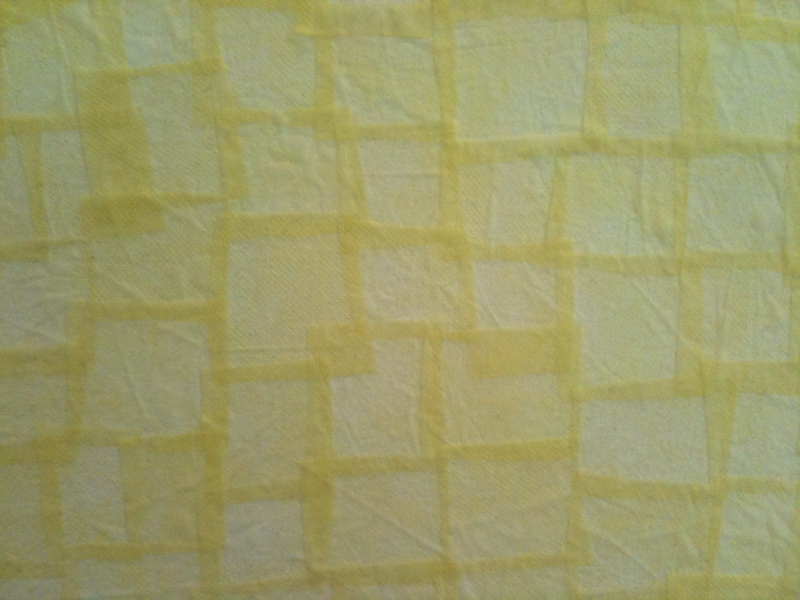 Collage-Paintings from hospital gowns (2011) Untitled (Yellow Pads), detail