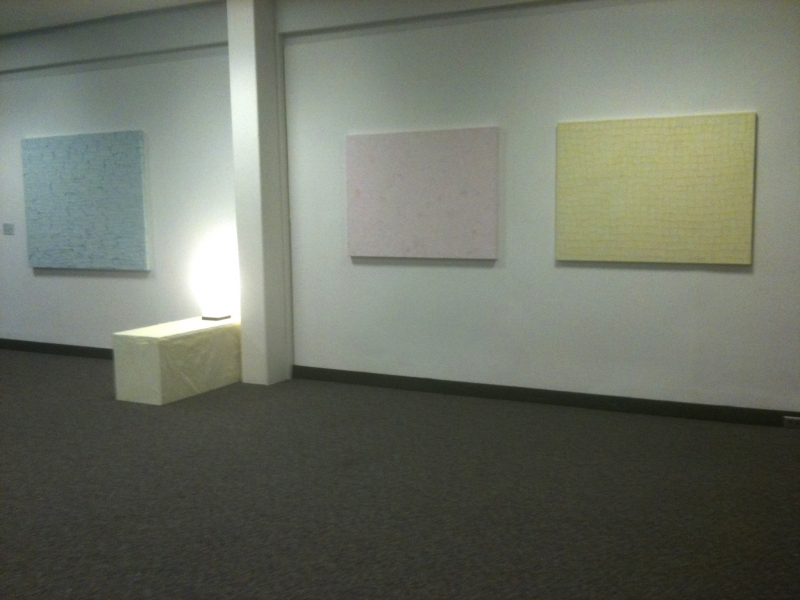Collage-Paintings from hospital gowns (2011) East wall, including west half of Ascent installation