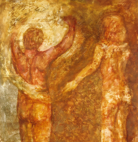 """Figurative Testimonials"" 2006-2009 oil and mixed media on primed paper"