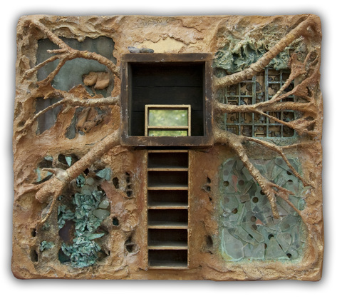 Assemblage/Sculpture mixed media with window pane substrate