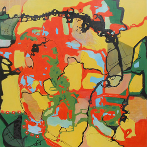 Kari Feuer Acrylic/collage:  GPS series Acrylic on panel, with collaged netting, hazard tape