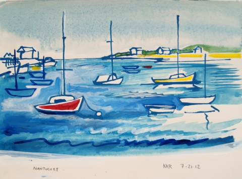 Kathleen A. Raymond Nantucket/Works on Paper Ink & Gouache