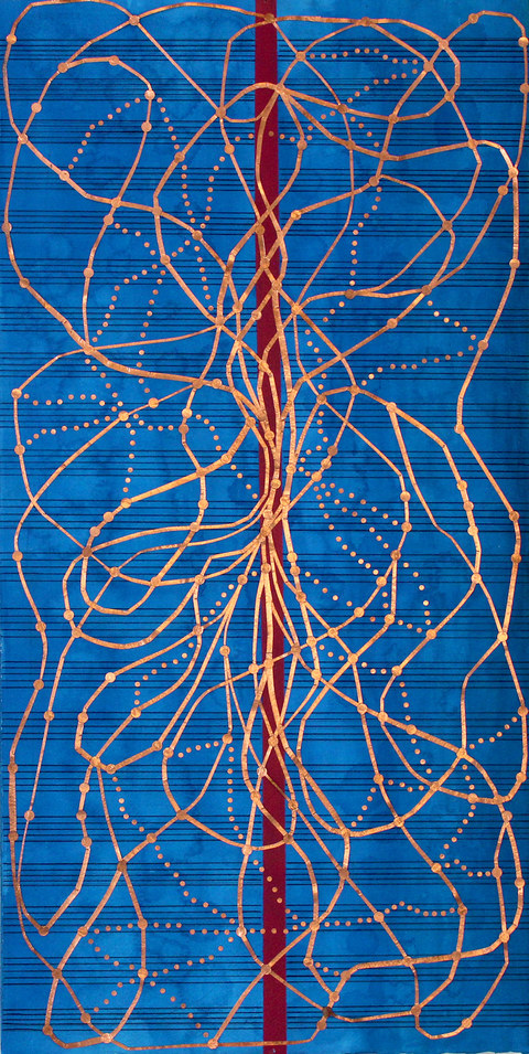 Kathleen Anderson Tuning Scores Copper foil, paint on paper