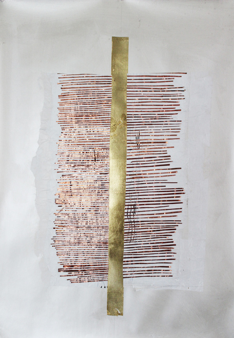 Kathleen Anderson Tuning Scores Copper foil, gold leaf on paper