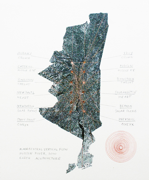 Main Central Vertical Flow: Hudson River Copper foil, pencil on inkjet print