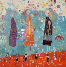 kathy beynette cats and dogs mixed media on canvas